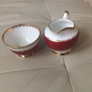 Sutherland Red and Gold Vintage Jug and Sugar Bowl